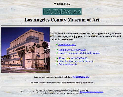 Screenshot of LACMAweb from 1997. There is an image of the LACMA main building on the left, and a bulleted list of blue hyperlinks on the right.